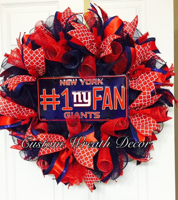 New York Giants Wreath, Giants Football Wreath, Deco Mesh Wreath