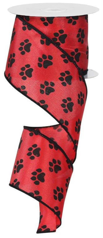 "2.5"" Red Black Paw Ribbon RG1779CM, 2.5"" Red Black Paw Print Ribbon, Paw Ribbon, Wired Ribbon (10 Yards) - RG1779CM"