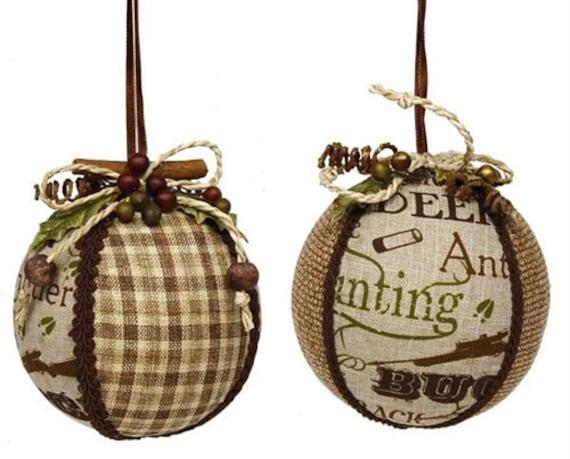 """3.5"""" Deer Hunting Ornaments Set of 2, Moss Brown Deer Hunting Ornaments, Hunting Christmas Ornaments"""