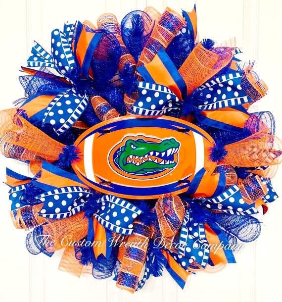 Florida Gators Wreath, College Football Wreath, Orange & Blue College Wreath