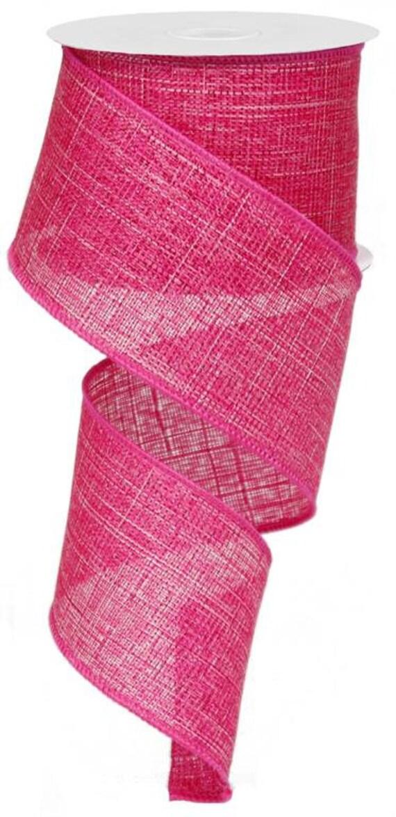 "2.5"" Hot Pink Metallic Faux Burlap Ribbon RG0101307, Metallic Royal Fuchsia Ribbon RG0101307"