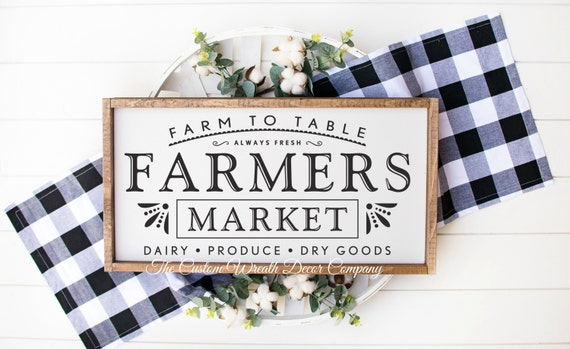 Farmer's Market Sign, Rustic Farmers Market Sign, Wood Farmers Market Sign