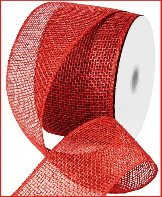 4 inch Red Poly Burlap Ribbon, Red Poly Mesh RP710324, Poly Burlap Wreath Supplies
