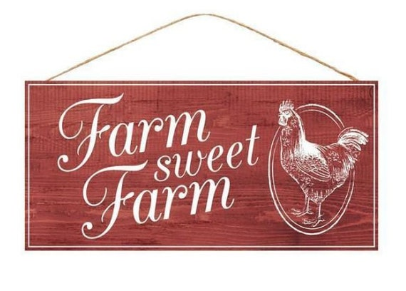 "12"" x 6"" Farm Sweet Farm Sign AP846424, Red White Farm Sign, Red White Rooster Sign"