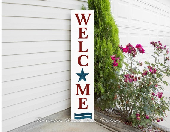 Patriotic Porch Sign, Welcome Porch Sign, Welcome Sign, Porch Sign