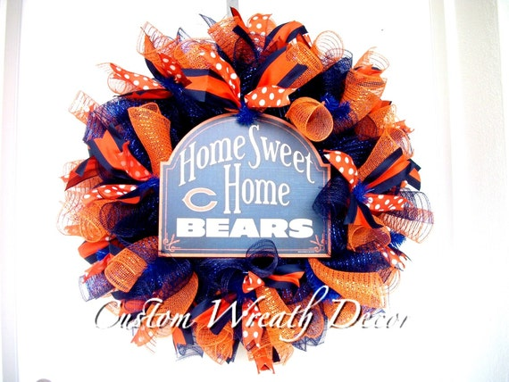 Chicago Bears Wreath, Chicago Bears Deco Mesh  Wreath, Home Sweet Home Chicago Bears Wreath