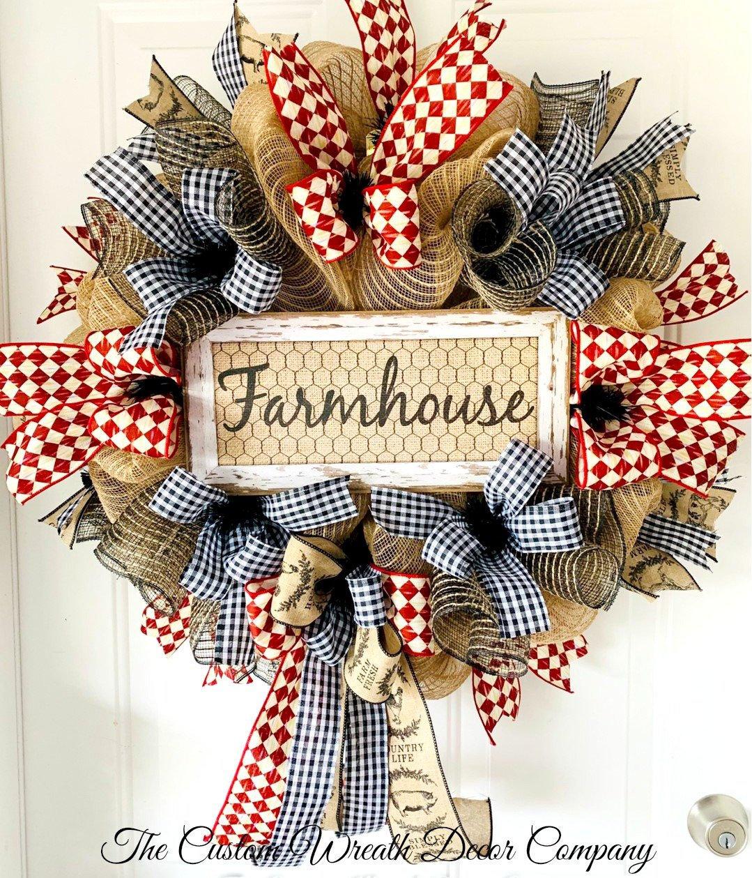 Farmhouse Wreath Farmhouse Burlap Wreath Rustic Farmhouse Wreath Red Black Plaid Wreath Country Mesh Wreath Farm Wreath