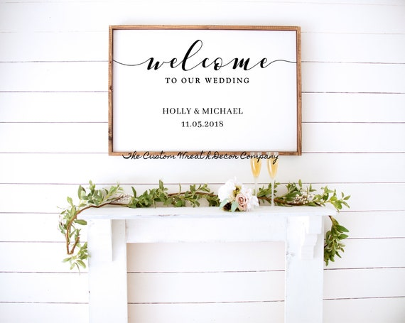 Welcome To Our Wedding Sign, Wedding Sign, Newlywed Sign