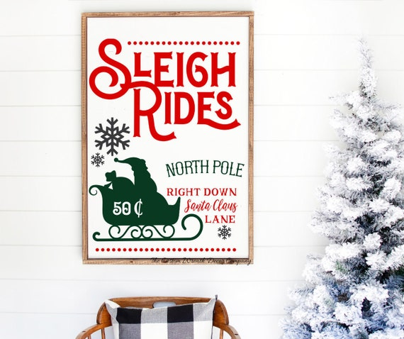 Sleigh Rides Sign, Old Fashioned Sleigh Rides Sign, North Pole Sign, Reindeer Sign