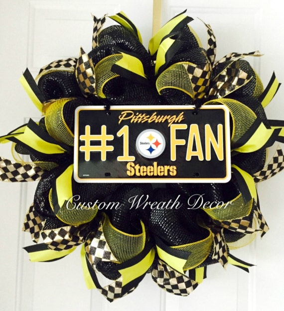 Pittsburgh Steelers Wreath, Steelers Wreath, Pittsburgh football Wreath, Steelers Football Wreath, Steelers Deco Mesh Wreath,
