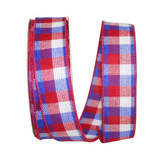"""1.5"""" Red White Blue Plaid Ribbon, Patriotic Plaid Ribbon"""