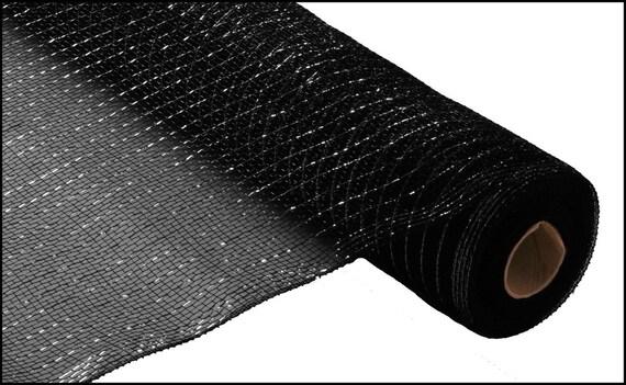21 inch Black Metallic Deco Poly Mesh, Black Metallic Deco Mesh  - (10 Yards) - RE100102