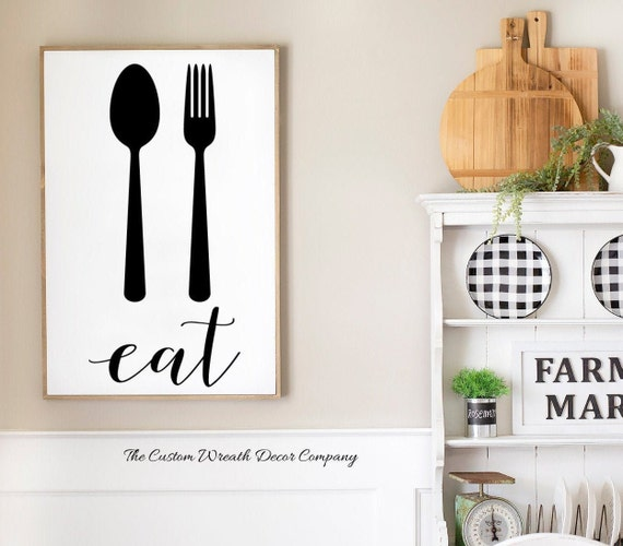 Rustic Kitchen Sign, Spoon Fork Sign, Eat Sign