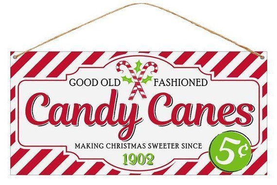 """12"""" x 6"""" Tin Candy Cane Sign MD0385, Red White Candy Cane Christmas Sign MD0385"""