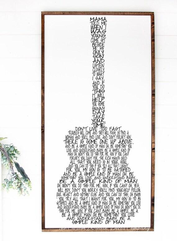 Simple Man Song, Simple Man Sign, Lynyrd Skynyrd Gift Idea, Lynyrd Skynyrd Fan, Guitar Sign