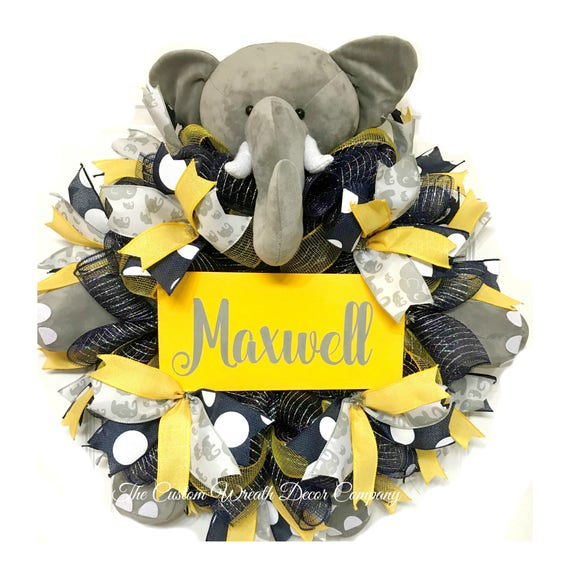 Grey Navy Yellow Baby Wreath, Yellow Navy Grey Baby Mesh Wreath, Baby Boy Elephant Wreath, Baby Elephant Wreath, Personalized Baby Wreath