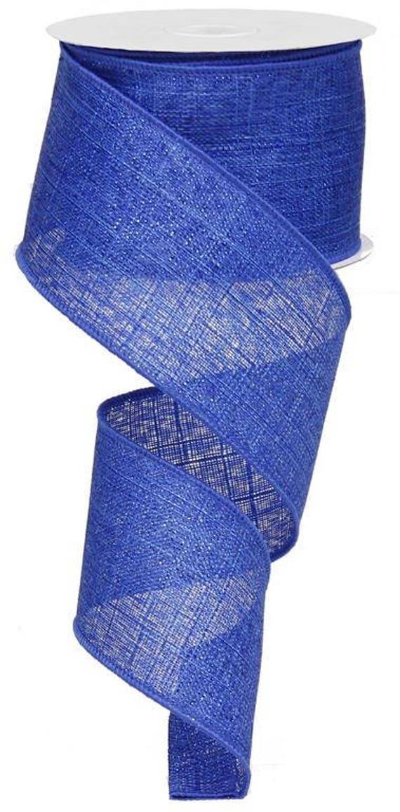 """2.5"""" Blue Metallic Royal Ribbon RG0101325, 2.5"""" Metallic Royal Royal Blue Ribbon RG0101325, 2.5"""" Royal Blue Metallic Wired Ribbon"""