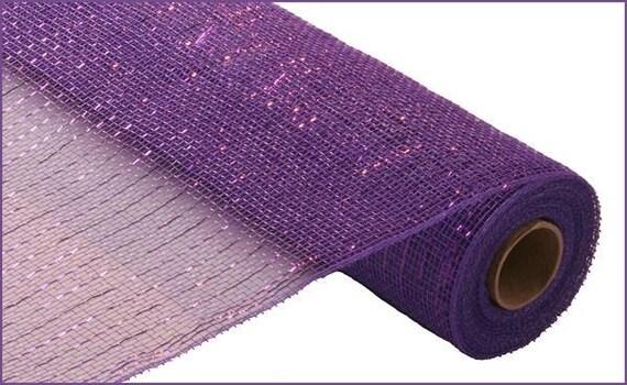 21 inch Purple Metallic Deco Poly Mesh RE100123, Purple w Purple Foil Deco Mesh, Purple Foil Poly Mesh