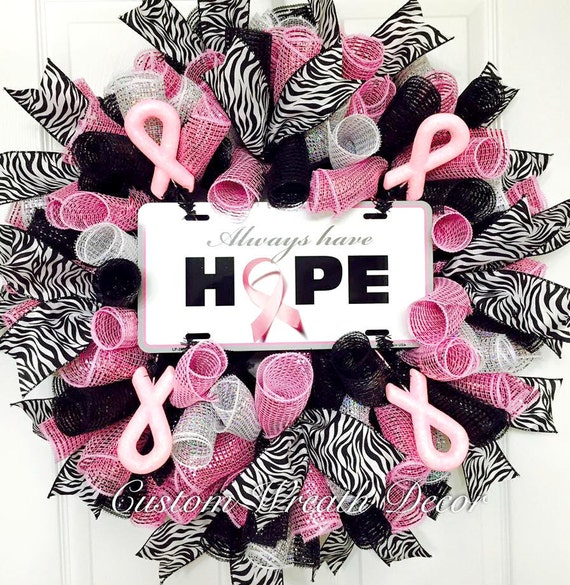 Breast Cancer Wreath, Breast Cancer Awareness Wreath, Pink Wreath, Always Have Hope, Breast Cancer Awareness Wreath, Pink Ribbon Wreath