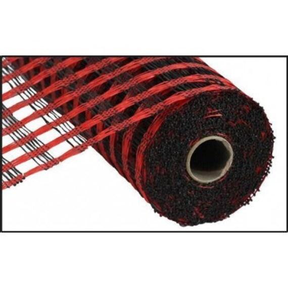 "10"" Red Black Poly Burlap Check Mesh RP8123E9, Red Black Check Mesh RP8123E9"