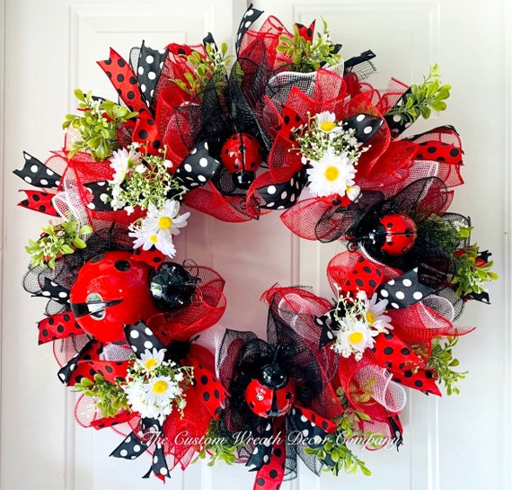 Ladybug Wreath, Red and Black Lady Bug Wreath, Spring Wreath