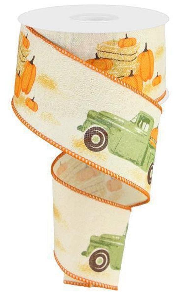 "2.5"" Vintage Truck With Pumpkins RG01836C2, Fall Truck Ribbon RG01836C2, Green Vintage Truck Ribbon RG01836C2, Fall Truck Ribbon"