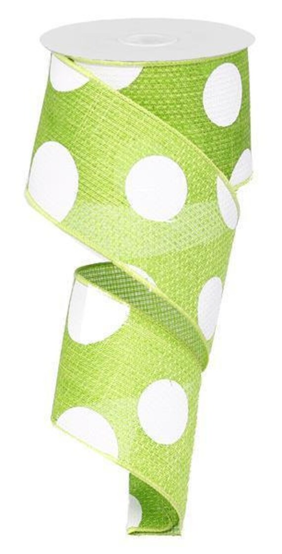 "2.5"" Lime Green Ivory Giant Dot Ribbon RG0120033"