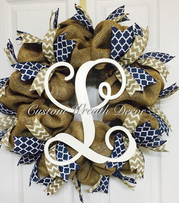 "26"" Burlap Wreath, Burlap Monogram Wreath, Burlap Initial Wreath, Personalized Burlap Wreath, Navy Burlap Vine Monogram Wreath"