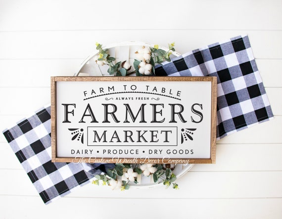 Farmer's Market Sign, Rustic Farmers Market Sign, Wood Farmers Market Sign
