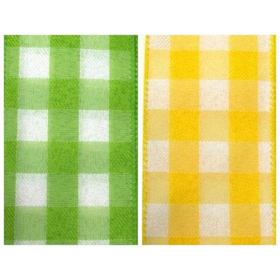 1.5 Inch Yellow White Woven Check Ribbon, Yellow Gingham Ribbon, Lime Green Woven Check Ribbon, Lime Gingham Ribbon, Wired Spring Ribbon
