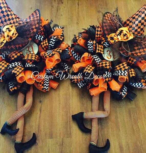 Double Door Witch Wreaths, Orange & Black Halloween Witch Wreath, Twin Witches Wreath, Deco Mesh Halloween Wreath