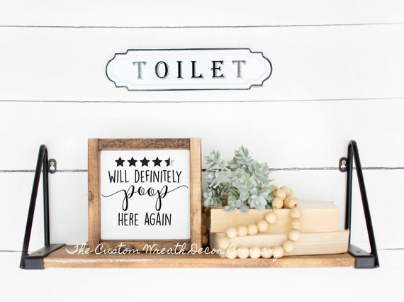 Will Poop Here Again Sign, Funny Bathroom Sign, Five Star Poop Here Sign, Poop Sign, Bathroom Sign, Bath Sign