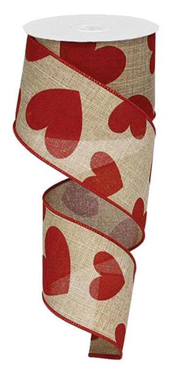 "2.5"" Valentine Ribbon, Large Hearts on Royal Red Beige Ribbon RG0121354, Red Beige Hearts Ribbon, Red Beige Valentine Ribbon RG0121354"