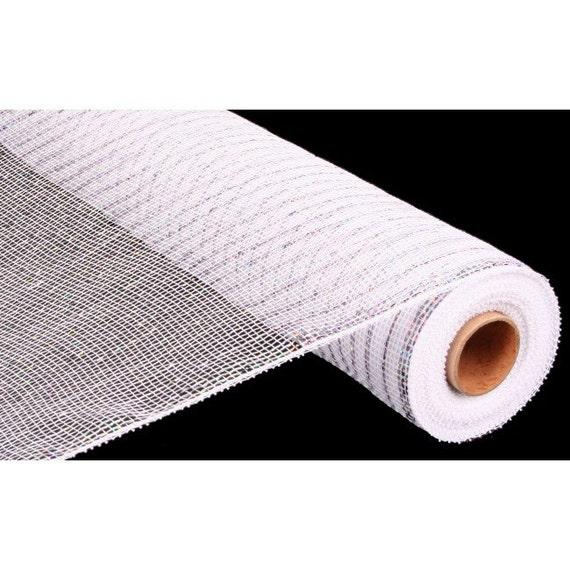 21 inch White Silver Deco Mesh, White Metallic Deco Mesh, White Silver Foil Deco Mesh, White Metallic Deco Poly Mesh (10 Yards)- RE100141