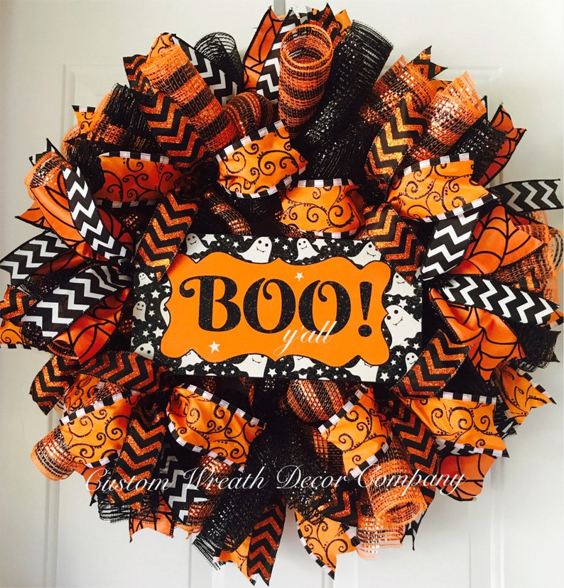 Orange /& Black Halloween Wreath Spooky Wreath Scary Wreath Halloween Boo Wreath Sparkly Glitter Halloween Wreath Ghost Wreath