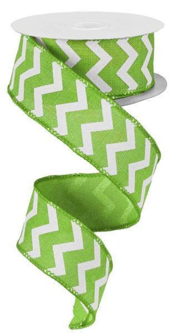 """1.5"""" Lime Green White Chevron Ribbon, Lime Chevron Ribbon, Wired Chevron Ribbon (10 Yards) - RG1018E9"""