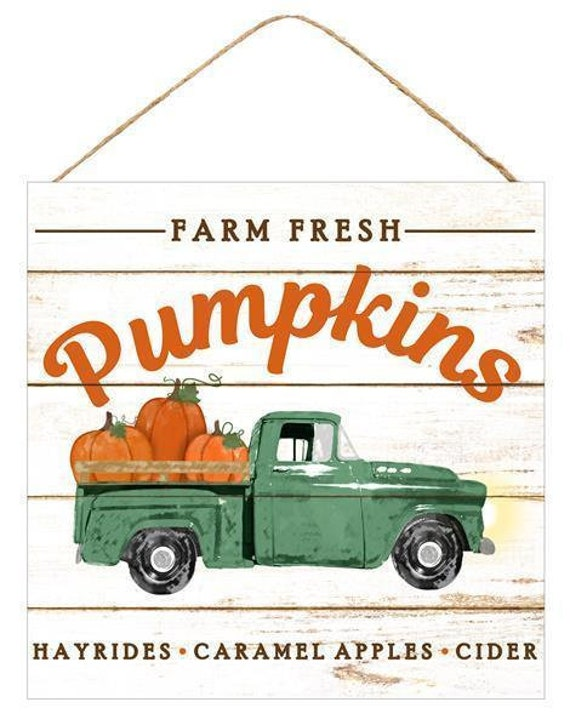 "10"" Farm Fresh Pumpkins Truck, Fall Truck Sign AP8280"