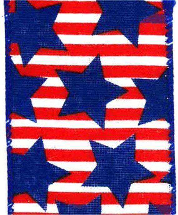 "2.5"" Red White Blue Star Patriotic Ribbon Q501840-553"