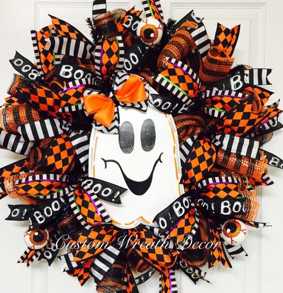 Ghost Wreath, Orange Black Halloween Wreath, Boo Ghost Wreath, Whimisical Ghost Wreath, Deco Mesh Halloween Wreath