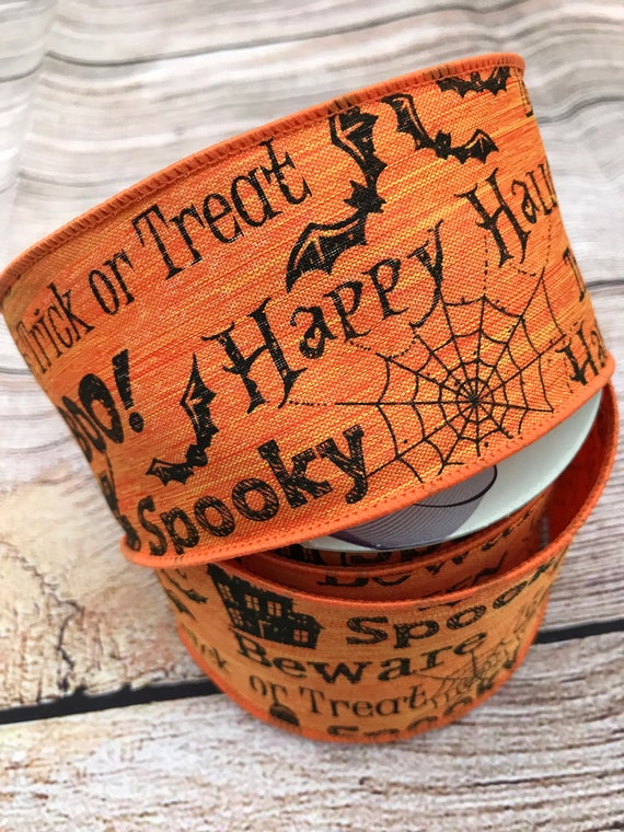 "2.5"" Orange Black Halloween Boo Print Ribbon RH0092, Halloween Words Ribbon, Halloween Spooky Ribbon, Happy Halloween Ribbon"