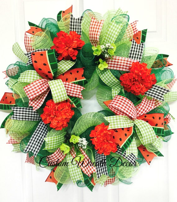 Watermelon Wreath, Summer Watermelon Wreath, Happy Summer Watermelon Wreath, Watermelon Deco Mesh Wreath