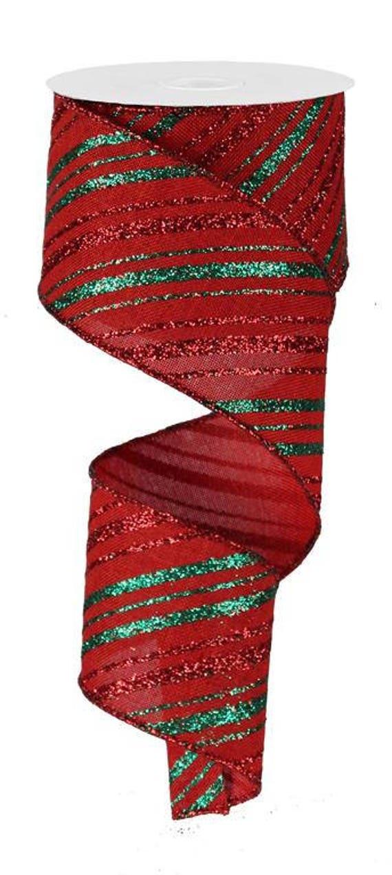 """2.5"""" Red Emerald Green Diagonal Stripe Glitter Ribbon RW679424, Red Emerald Diagonal Glitter Ribbon, Red Emerald Green Glitter Ribbon"""