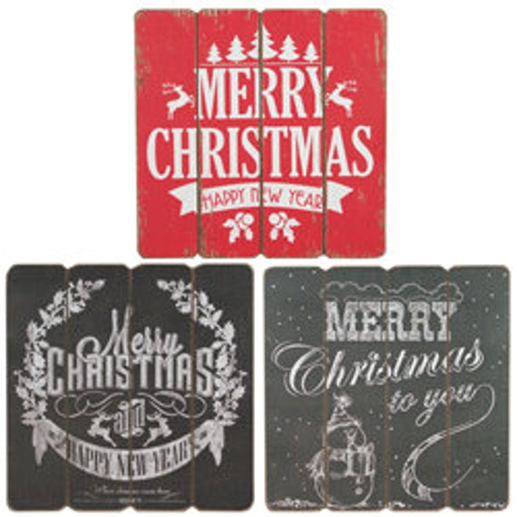 """16"""" Merry Christmas Chalkboard MDF Sign, Snowman Christmas Sign,  Happy New Year Sign, Christmas Wreath Sign - HH65037A, HH65037B, HH65037C"""