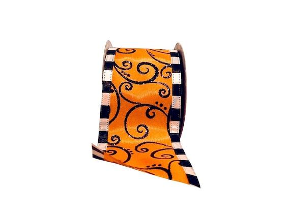 "2.5"" Halloween Ribbon, Orange White Black Halloween Ribbon, Halloween Swirl Ribbon (10 yards) - RR90564W-517-40F"