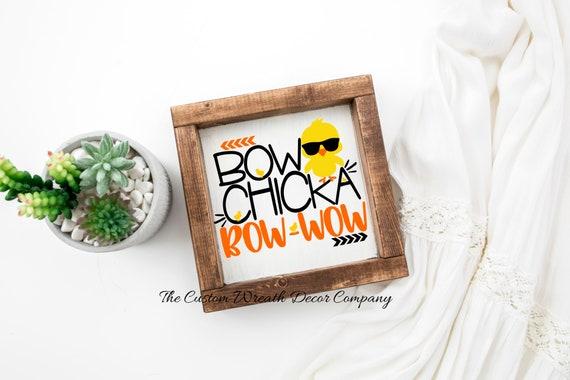Bow Chicka Bow-Wow Shelf Sitter, Easter Shelf Sitter, Chick Shelf Sitter