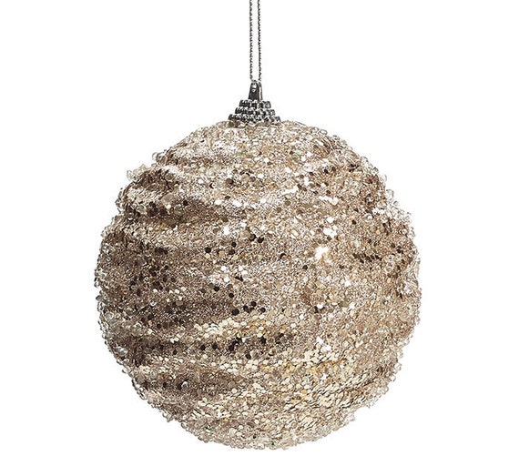 "4"" Champagne Gold Glitter Ball Ornament, Champagne Gold Glitter Bead Ornament"