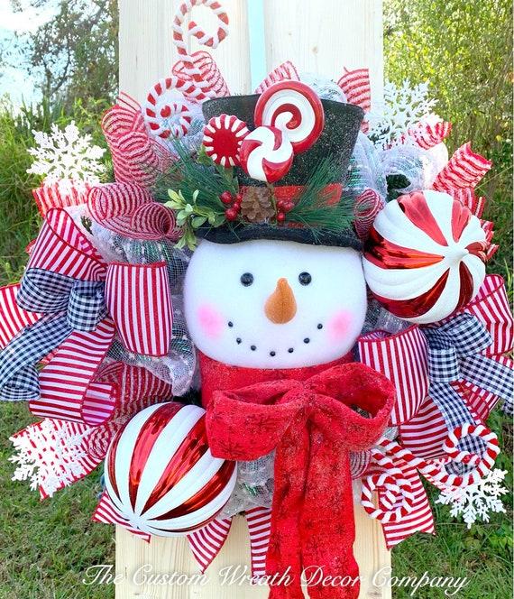 Snowman Wreath, Classy Snowman Wreath, Snowman Christmas Wreath, Christmas Door Wreath, Christmas Wreath, Candy Cane Wreath