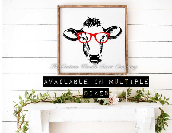 Cow Print Sign, Cow Red Glasses Sign, Cool Cow Sign, Farm Animal Sign, Dairy Sign, Rustic Cow Sign, Fixer Upper Sign