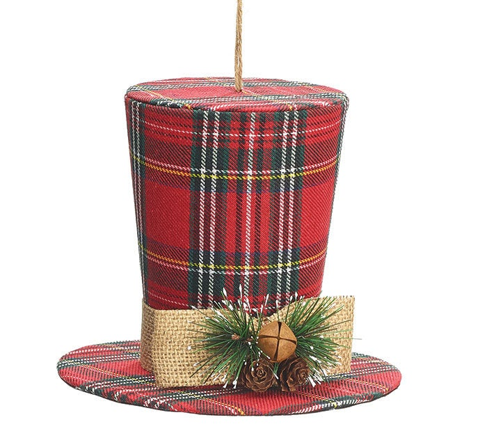 Christmas Top Hat Ornaments.6 Red Plaid Top Hat 9731063 Red Plaid Top Hat Ornament