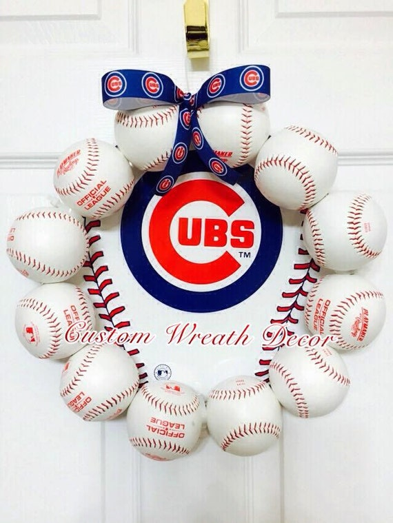 Chicago Cubs Baseball Wreath, Cubs Wreath, Cubs Baseball Wreath, Cubs MLB Baseball Wreath